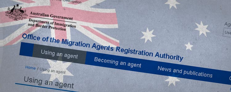 Screenshot of the Office of Migration Agents Registration site superimposed over an australian flag