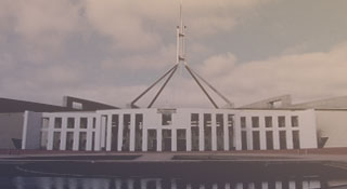 The front entrance to Parliament House in Canberra, Australia