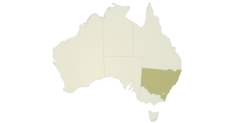 A map of Australia highlighting the state of New South Wales