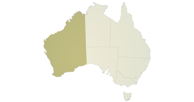 A map of Australia highlighting the state of Western Australia